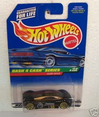 Hot Wheels - 1997 - Dash 4 Cash Series - Audi Avus - Black & Gold - #3 of 4 cars - Collector #723 - Limited Edition - Collectible 1:64 Scale (S4 Toy Audi Car)