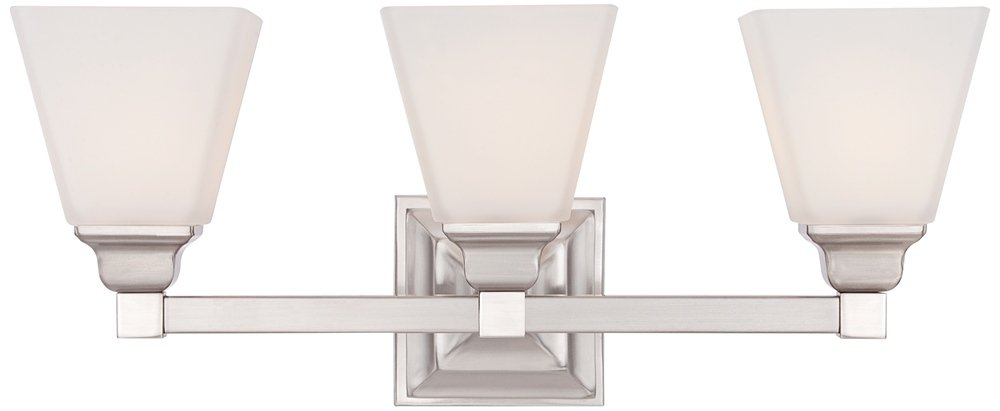 Mencino 20'' Wide Satin Nickel and Opal Glass Bath Light