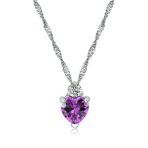 Majesto 925 Sterling Silver Purple Heart Pendant Necklace Stud Earrings Bracelet Set For Women Teens Girls by Majesto (Image #2)