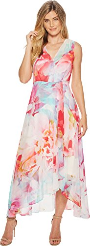 Calvin Klein Womens V-Neck Floral High-Low Maxi CD8H635J Pink Multi 14 One Size by Calvin Klein