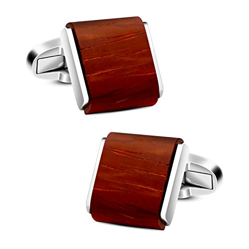 (VIILOCK Men's Natural Handmade Rosewood Cufflink Handcrafted Wooden Square Cuff Links with Gift Bag (Red Sandalwood))