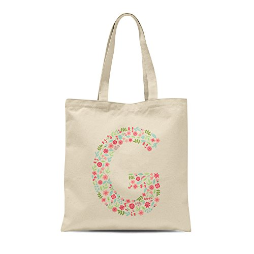 Personalised Gift Any Present Birthday Letter Floral Alphabet Bag Tote Letter G Shopper rxwrHqp
