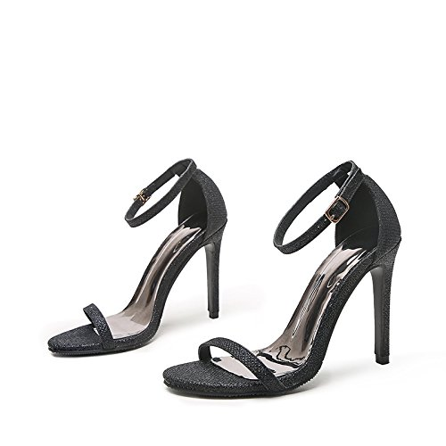 Heeled Buckled bright And 10cm Summer The Shoes High Stars Heel With Same black surface High of Single 2018 Shoes Ladies' Fresh ZHANGYUSEN Sandals Z1v4x7qw