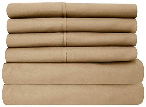 - Rajlinen Taupe Solid 4 Piece Attached with Fitted Sheet 100% Cotton Waterbed Sheets (15 Inch Deep) Breathable 800-Thread-Count Ultra Soft Rich Egyptian Cotton (Cal.King/King)