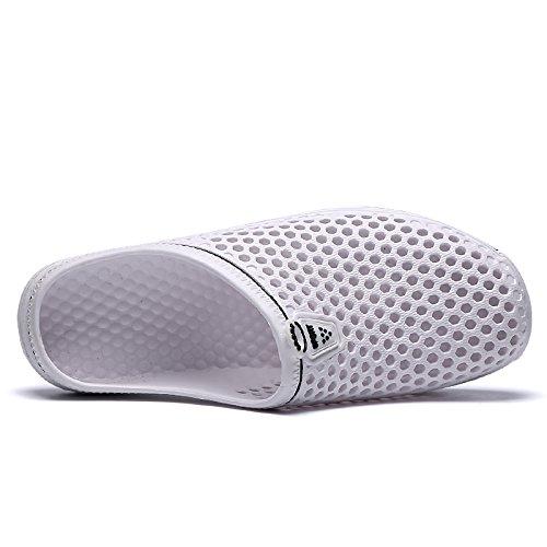 Easondea Slippers for Men Women Lightweight Flip Flop Outdoor Beach Sandals Hollow Out Clogs Unisex Slip-On Shoes Mesh Net Breathable White kMsQyHKgmo