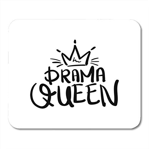 Gaming Mouse Pad Calligraphy Drama Queen Graphics Crown Slogan Tee 7.18.7 Inches Decor Office Computer Accessories Nonslip Rubber Backing Mousepad Mouse Mat