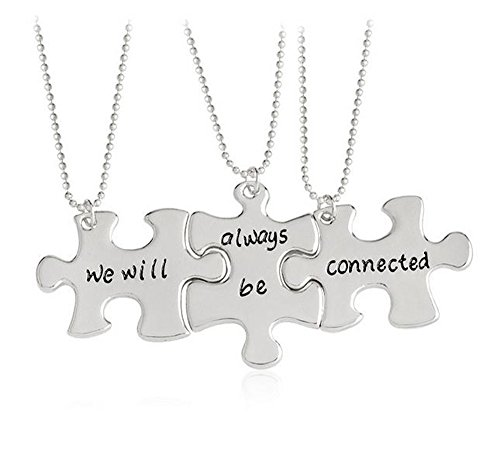 Meiligo Fashion 3 Pcs Best Friends Forever Gift Alloy We will always be connected Letter Puzzle Dog Tag Necklace Key Chain Square Matching Engraved Letter Necklace Set (Necklace - Silver(3 pcs))