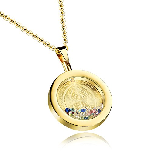 TEMICO Stainless Steel Our Lady of Guadalupe Round Pendant Necklace Catholic Medal Jewelry Religious Gift