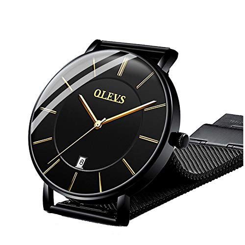 OLEVS Ultra Thin Minimalist Big Face Date Dress Analog Wrist Watches for Men Teens Waterproof Classic Slim Simple Business Casual All Black Large Dial Gold Quartz Watch with Mesh Milanese Band Gift ()