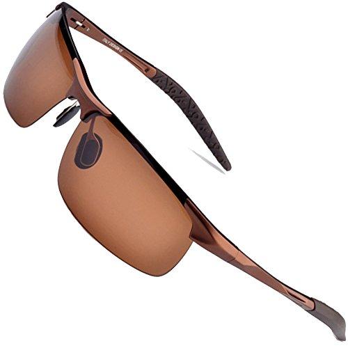 MOTELAN Men's Polarized Sunglasses for Driving Fishing Golf Metal Glasses UV400 Brown
