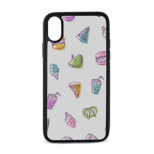 iPhone Burger Food Fast Food Art Painting Breakfast Cola Digital Print TPU Pc Pearl Plate Cover Phone Hard Case Cell Phone Accessories Compatible with Protective Apple Iphonex/xs Case 5.8 Inch