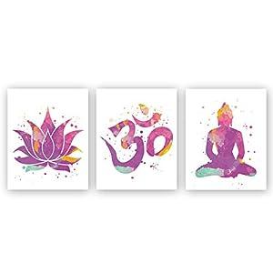 Minimalist Yoga Art Painting,Lotus Flower,Om Symbol,Seated Buddha Cardstock Art Print Watercolor Poster Yoga Studio Wall Art Home Decor (Set of 3, 8'' x 10'',Unframed)
