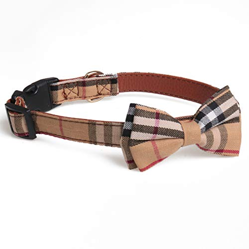 chede Soft &Comfy Bowtie Dog Collar, Detachable Adjustable Bow Tie Collar Pet Gift (M, classic1)