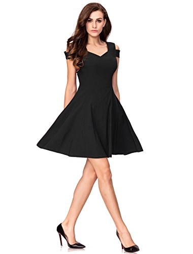 InsNova Women's Off Shoulder Little Cocktail Party A-line Skater Dress (X-Small, Black) by InsNova (Image #4)