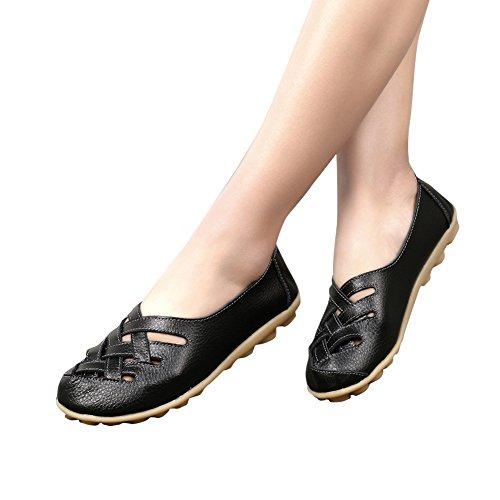 Mocasines Con Punta Redonda De Cuero De Vaca Para Mujeres Zapatos Cómodos Con Cordones Antideslizantes De Color Negro