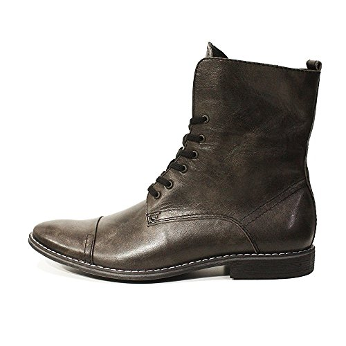 Mens Modello Leather Ermanno High Gray Italian Up Cowhide PeppeShoes Smooth Boots Handmade Leather Lace dFqBnxXpw