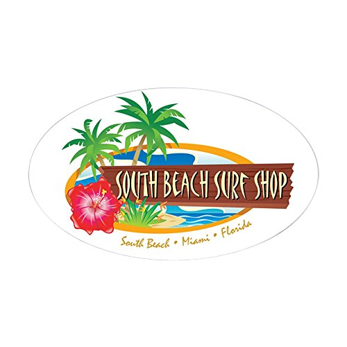 CafePress - South Beach Surf Shop - Oval Sticker - Oval Bumper Sticker, Euro Oval Car Decal