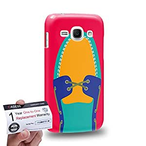Case88 [Samsung Galaxy Ace 3] 3D impresa Carcasa/Funda dura para & Tarjeta de garantía - Art Hand Drawing Turquoise Boat Shoe