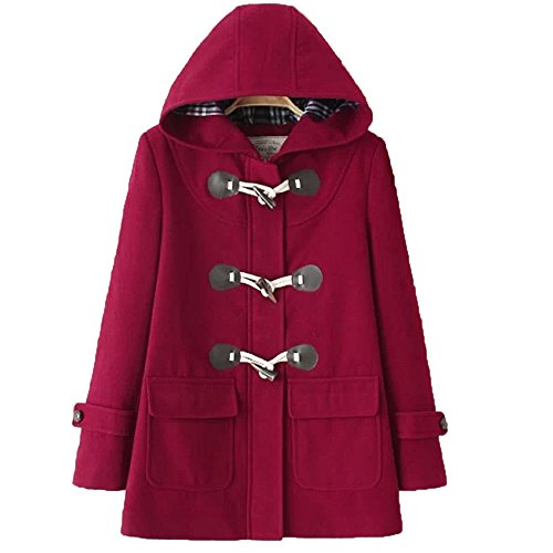 Imagine Women's Hoodie Fleece Jacket Duffle Style Toggle Wool Coat Pea Coat WR-XL -