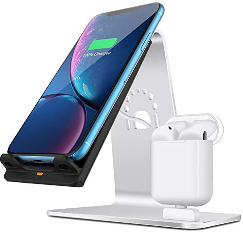 Bestand 2 in 1 Qi Wireless Charger, Wireless Charging Stand/Dock/Holder/Station Compatible with Airpods/iPhoneX/XS/XS