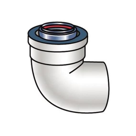 Rinnai 224255 90-Degree Metal Elbow for LS Series Tankless Water Heater Venting 1 Zero Clearance To Combustibles Single Penetration Through Wall For Both Intake And Exhaust GSA Approved