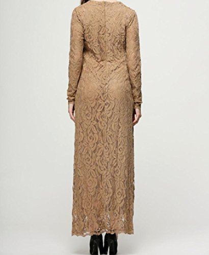 Cocktail Skinny Conservatism Color Lace Muslim Khaki Coolred Dress Pure Women PvBx0Wn4
