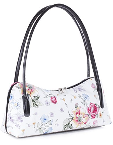 Floral Evening Genuine Satchel Bag Clutch Italian Shoulder Arya Trim Liatalia White Small Black Leather qAYdZZPx
