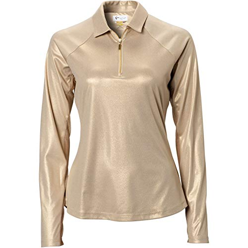 Greg Norman Women's Solar Xp Foil Long Sleeve 1/4-Zip Polo, Gold Dust, Large