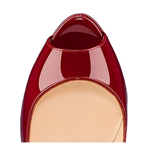 Miuincy Mujeres High-heel Peep Toe Plataforma Stiletto Slip On Dress Zapatos De La Bomba Para El Banquete De Boda Borgoña