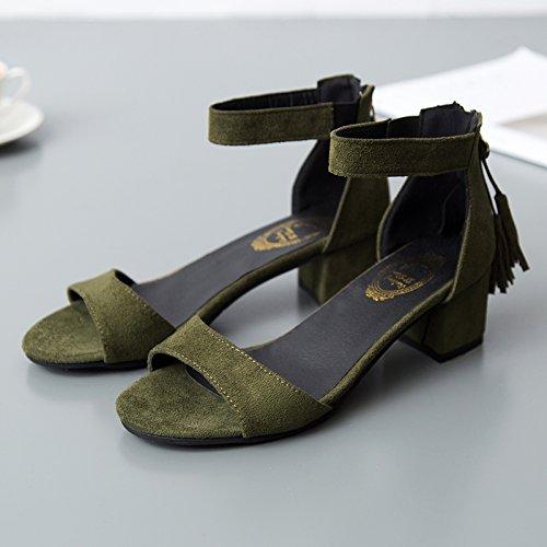 SHOESHAOGE Grueso Y con Fijaciones Ranuradas, Dew-Toe Señoras High-Heeled Sandals Y Su Elegante Y Zapatos De Mujer,Eu35 EU36