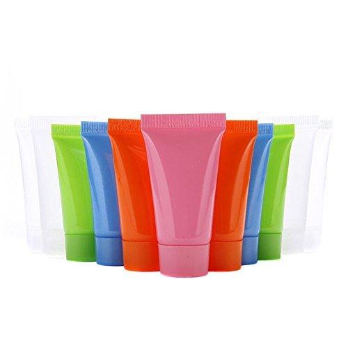 24Pcs 5ml Empty Plastic Soft Tube Sample Bottle Container Jar Pot Case Perfect for Emulsion Shower Gel Shampoo Facial Cleanser(Colour Random)