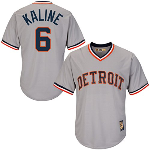 VF Detroit Tigers MLB Mens Majestic #6 Al Kaline Cooperstown Cool Base V Neck Jersey Gray Big & Tall Sizes (4XT)