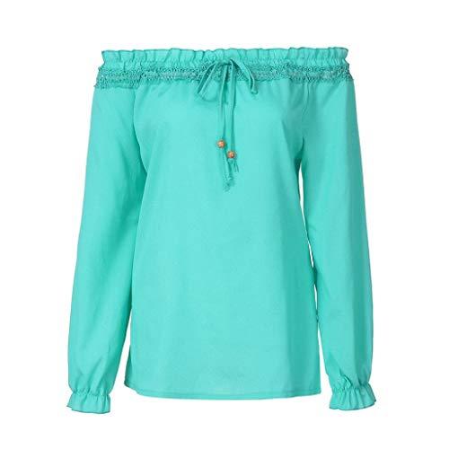 Shirt Camicetta Maglia Daily Donna Lunga Yesmile Tops Sweatshirt Sciolto Manica T Sporche Camicia Donne Top Casual verde Pocket Maglietta Donna Camicetta UwxcOB