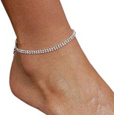 Two Rows of Rhinestone Crystal Anklet