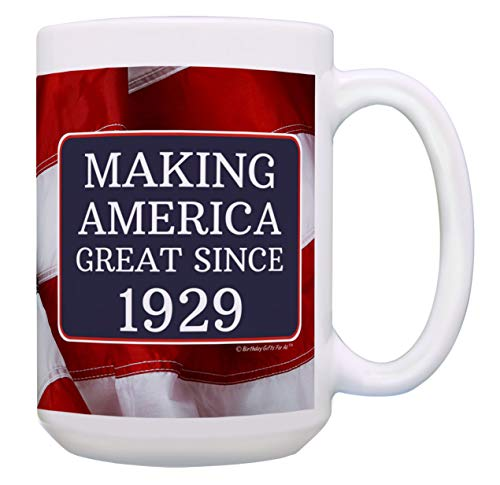 90th Birthday Gifts for All Making America Great Since 1929 90th Birthday Gift Ideas MAGA Coffee Mug Birthday Mug MAGA Gifts 15-oz Coffee Mug Tea Cup 15 oz American Flag