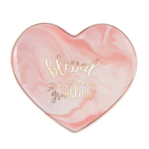 Vilight Mother's Day Gifts for Grandmother - BLESSED GRANDMA - Pink Marble Heart Ceramic Ring Dish Jewelry Tray 5.5