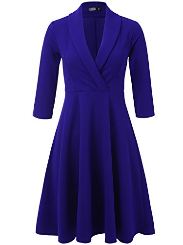 Tan Gold Flare (JayJay Women 3/4 Sleeve Wear To Work Lapel Party Fit and Flare Faux Wrap Dress,Royalblue,2XL)