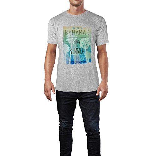 SINUS ART® Bahamas Enjoy The Summer Time Herren T-Shirts in hellgrau Fun Shirt mit tollen Aufdruck