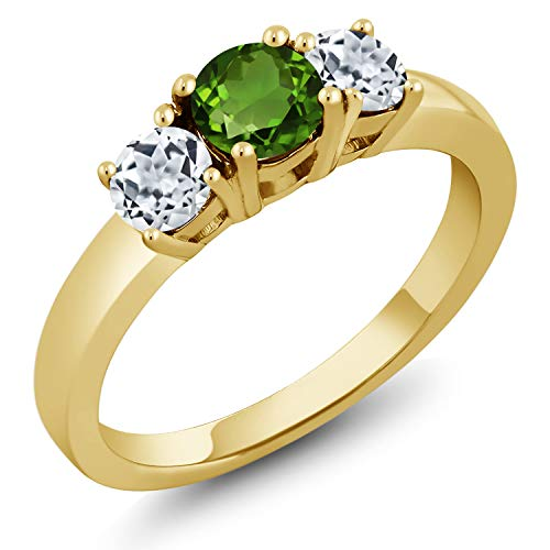 Gem Stone King 1.16 Ct Green Chrome Diopside White Topaz 18K Yellow Gold Plated Silver Ring (Size 7)