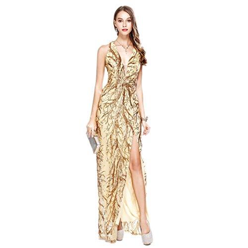 V Oro Abito Vestito Maniche Scollo Sexy Da Cocktail Profondo Da A Cotiledone Lungo Del Sera Oqdx5q