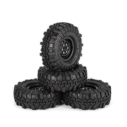 4Pcs 1.9 Inch 110mm Rubber Tires Tire with Metal Wheel Rim S