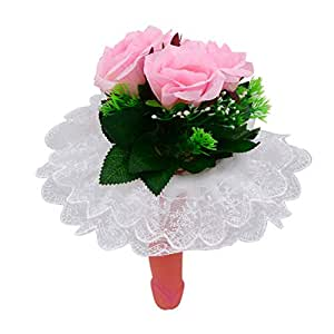 Amosfun Novedad Ramo de pene Flores Divertidas Falsas Ramo de Flores de Encaje Blanco para la Noche de Las niñas Despedida de Soltero