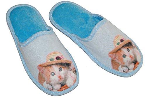 Hausschuh / Pantoffel Katze blau hellblau Größe Gr. 40 - Kätzchen feste Gummisohle Sohle