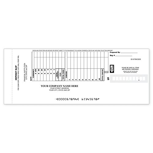 10-Line Booked Deposit Slips - Deposit Tickets Book for Business (2400 qty) - Custom by CheckSimple