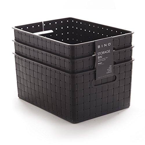 BINO Woven Plastic Storage Basket (3PK- M, Black)