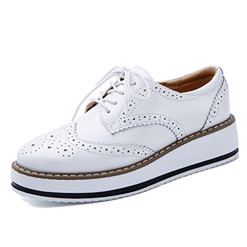 YING LAN Women's Platform Lace-Up Wingtips Square Toe Oxfords Shoe White