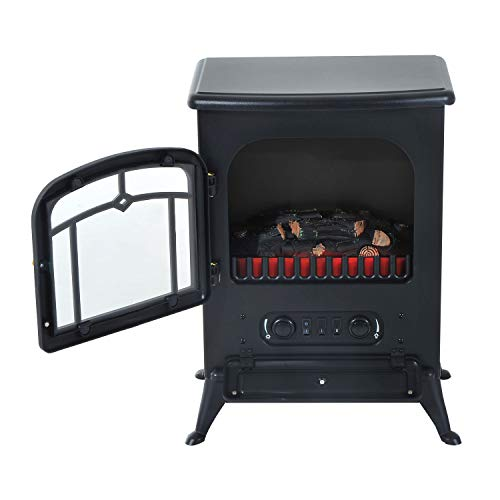 Cheap Alek...Shop Contemporary Design Electric Fireplace Free Standing Heater Adjust 750W /1500W Wood Fire Flame Stove Living Room Black Friday & Cyber Monday 2019