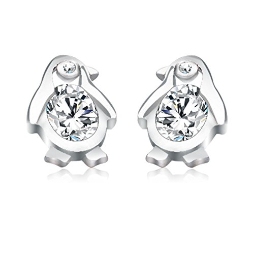 CASOTY Cute Silver Penguin Crystal Earri - Sterling Penguin Shopping Results