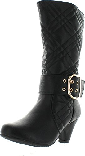 - Lucky Top Cookie-1K Children Girl's Quilted Buckle Mid Heel Knee High Riding Boots,Black,13
