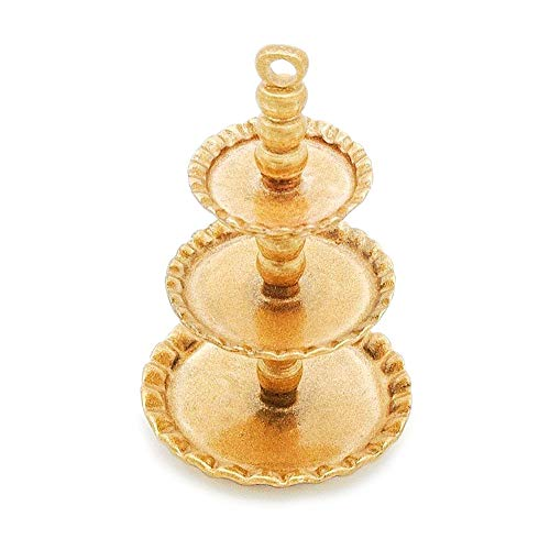 Cake Hamper - Odoria 1:12 Miniature 3-Tier Golden Cupcake Stand Dessert Centerpiece Dollhouse Kitchen Accessories